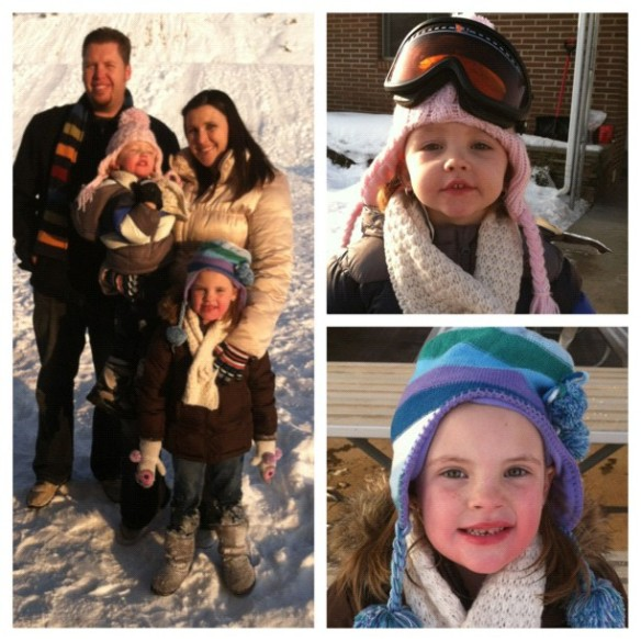 Here is Ashley's brother and his family ready to go sledding with us!