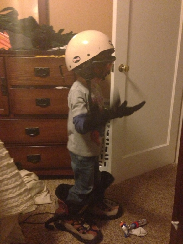 After I got home Zach wanted to dress up like me and go snowboarding!